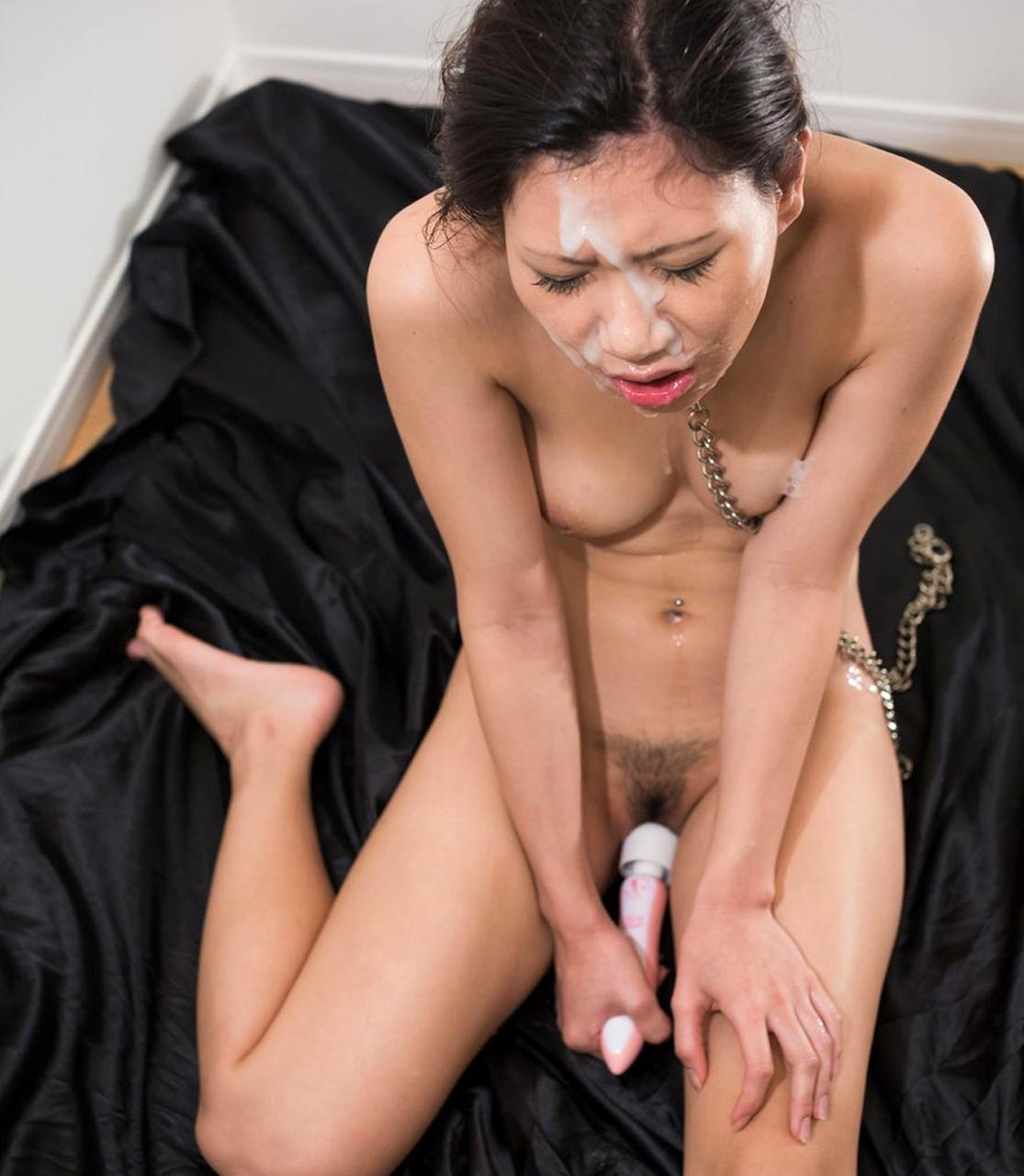 Aiku Kisaragi, nude, masturbates after being facefucked with cum on her face at Tokyo Face Fuck. Uncensored BDSM facial sex.