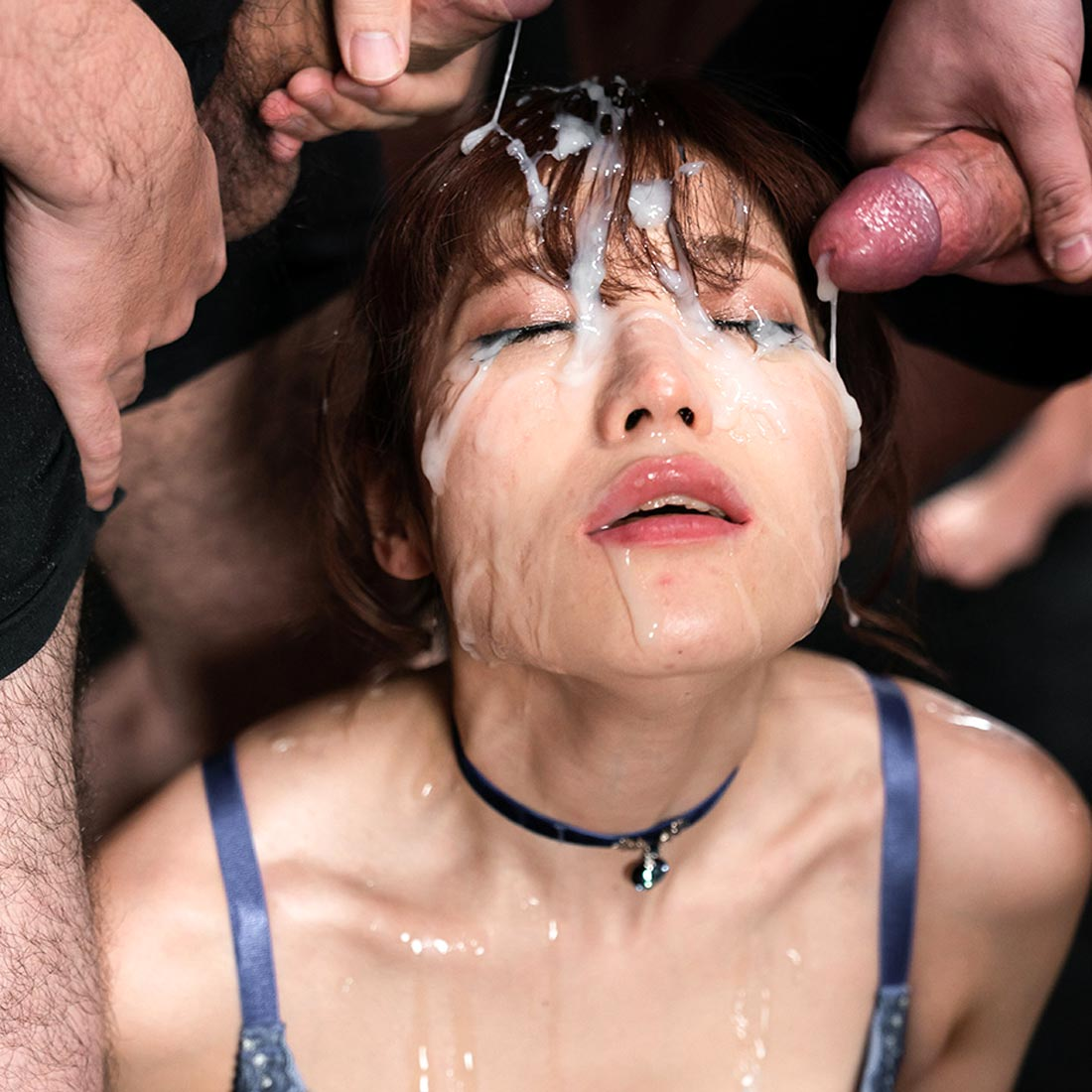 Mizuki's Sticky Bukkake Facial. A Japanese girl get her face covered in cum from 31 cumshots. Uncensored Facials Fetish from Japan.