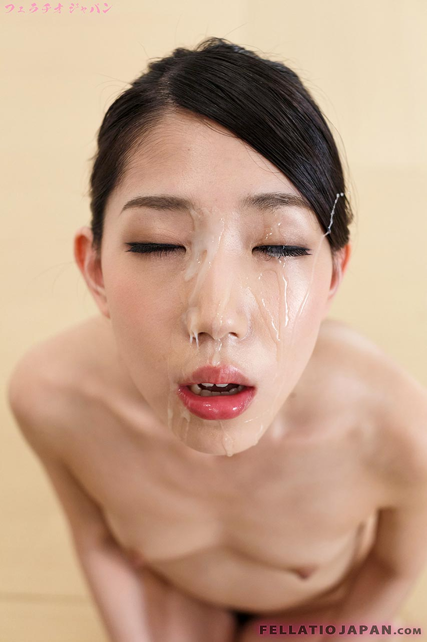 Rio Kamimoto, nude, receives a facial, getting her face covered in cum in an uncensored Fellatio Japan Blowjob video.
