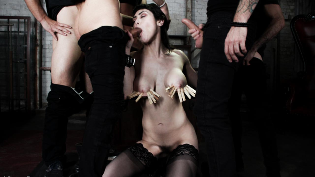Audrey Noir, nude, her first Bound Gangbang, BDSM, Bondage and Double Penetration in a video at Kink channel BoundGangbangs.