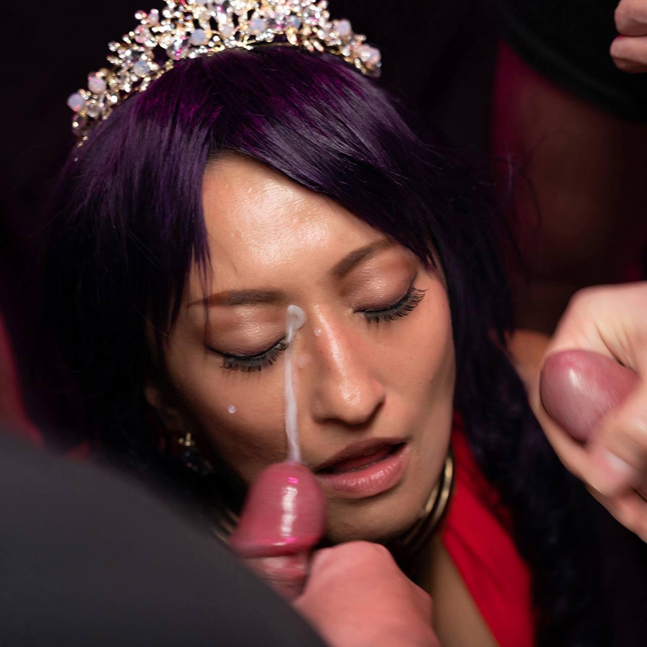 Cospuri Bukkake, Rei Hoshino in a cosplay porn video. Uncensored Facial Fetish with a busty girl getting cum on her face and boobs.