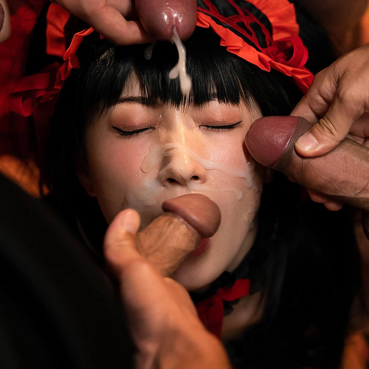 Haruka Suzuno Bukkake Cosplay at Cospuri. A Facial and Cumshot Fetish video with a Japanese AV Idol.