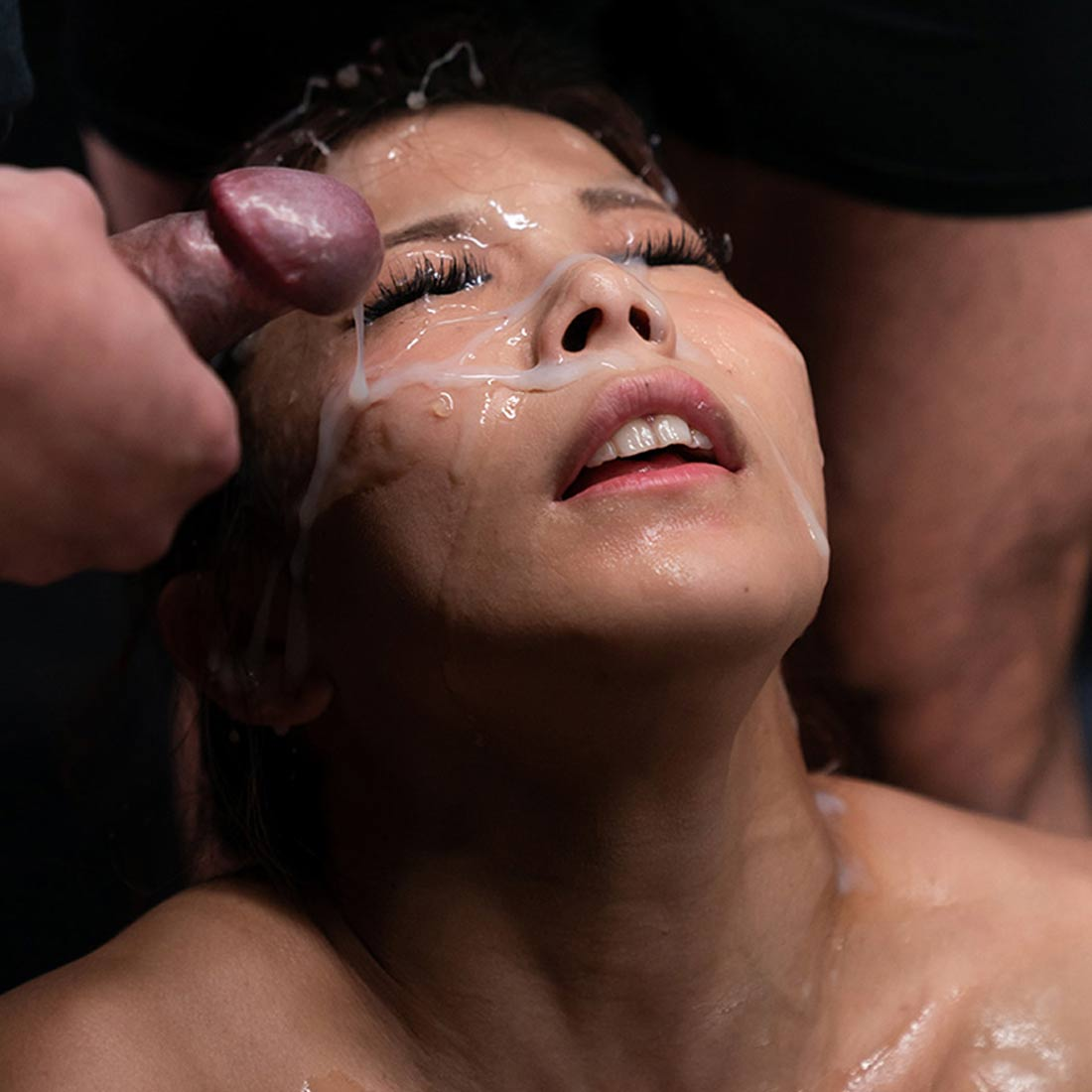Saki Kawanami's Sticky Bukkake Facial. SpermMania video with one nude girl and 18 cumshots. Uncensored Cum Fetish.